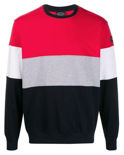 メンズ Paul & Shark カラーブロック スウェットシャツ Red