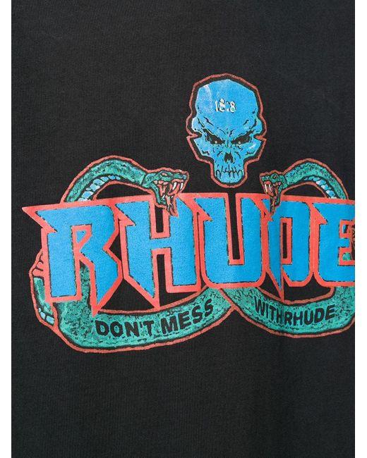 メンズ Rhude スカル&スネーク Tシャツ Black
