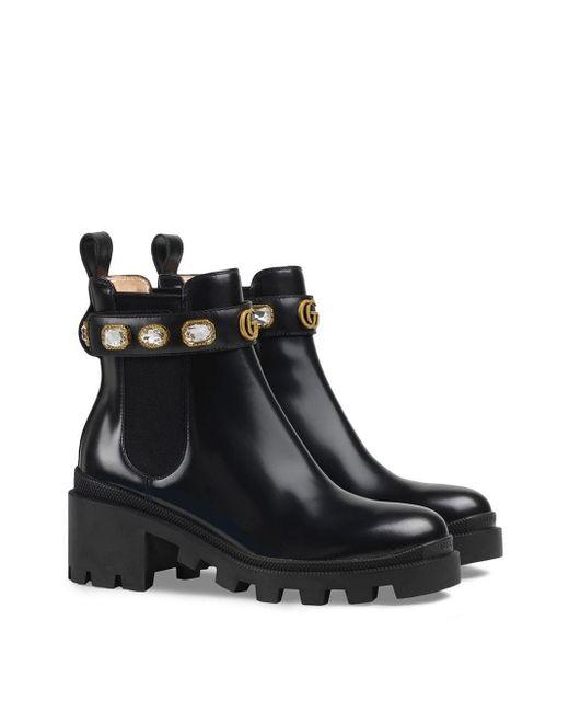 Gucci Leren Enkellaarzen in het Black
