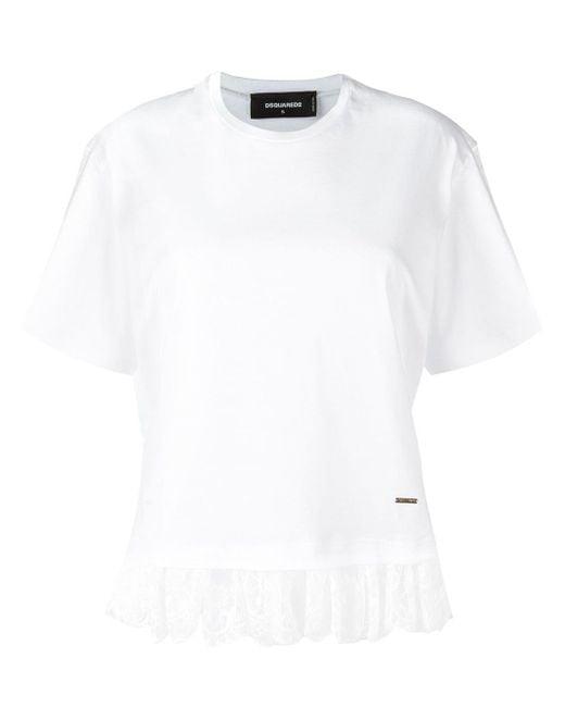 DSquared² White - Lace Effect Fringed T-shirt - Women - Cotton/polyamide - S
