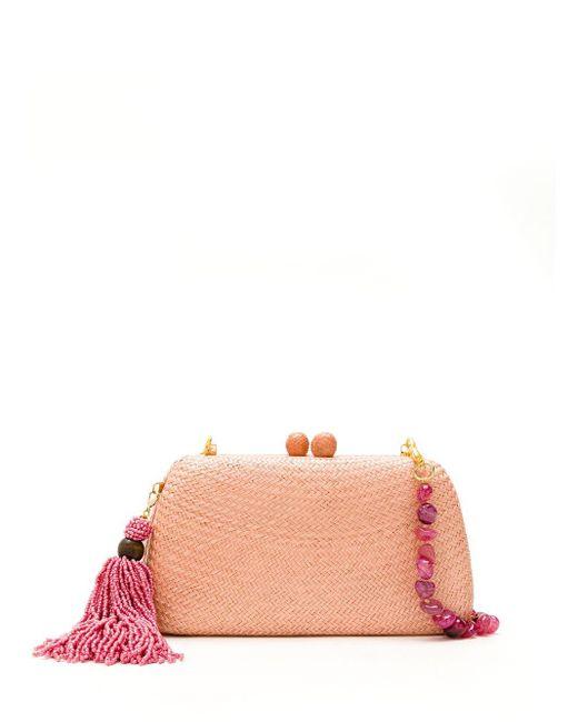 Соломенный Клатч Serpui, цвет: Pink