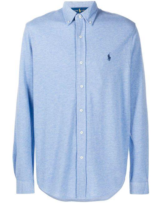 メンズ Polo Ralph Lauren ロゴエンブロイダリー シャツ Blue