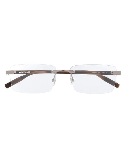 メンズ Montblanc スクエア眼鏡フレーム Brown