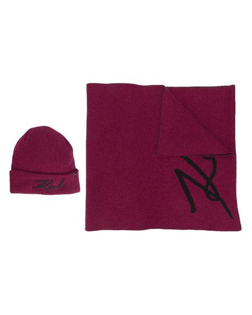 Karl Lagerfeld K/signature ビーニー&スカーフ Purple