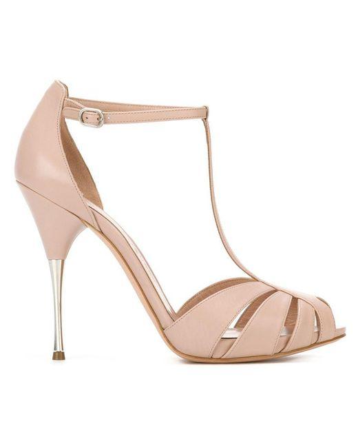 Alexander McQueen - Pink Leather Stiletto Sandals - Lyst