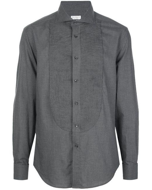 メンズ Brunello Cucinelli プリーツ シャツ Gray