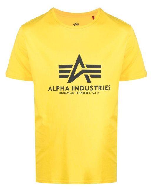 メンズ Alpha Industries ロゴ Tシャツ Yellow