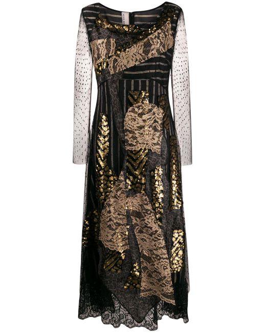 Vestido midi con panel de encaje Antonio Marras de color Black