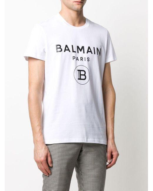 T-shirt à logo imprimé Balmain pour homme en coloris White