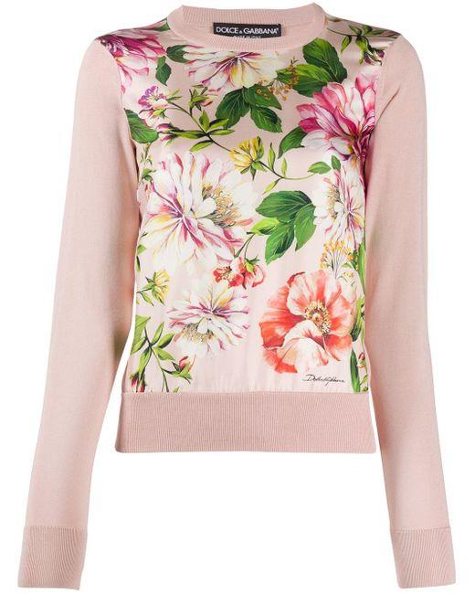 Джемпер С Цветочным Принтом Dolce & Gabbana, цвет: Pink