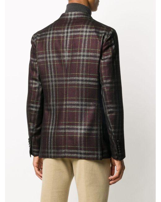 メンズ Tagliatore チェック シングルジャケット Black