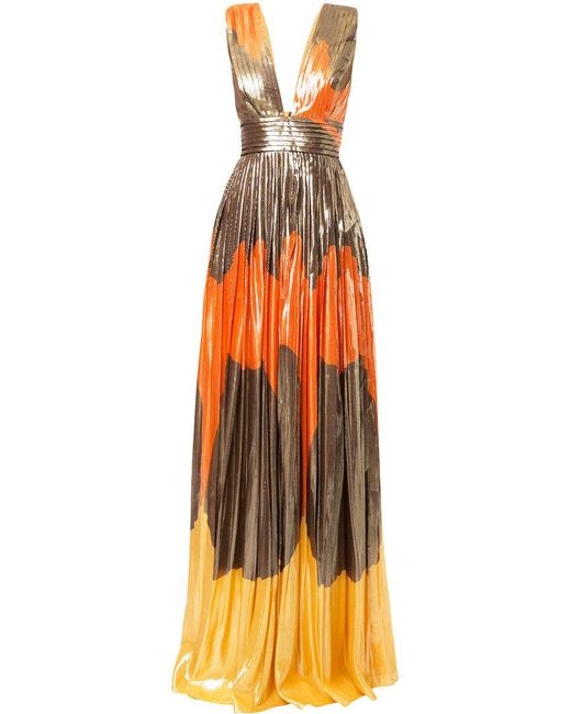 Dhela - Orange Metallic Printed Pleated Skirt Gown - Lyst
