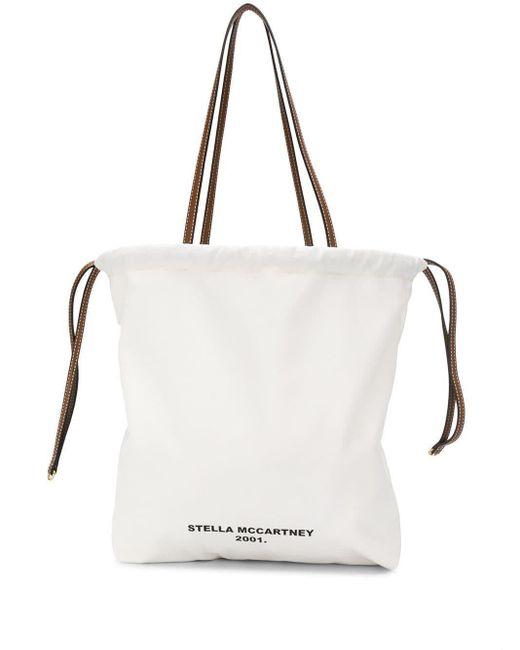 Bolso shopper con logo estampado Stella McCartney de color White