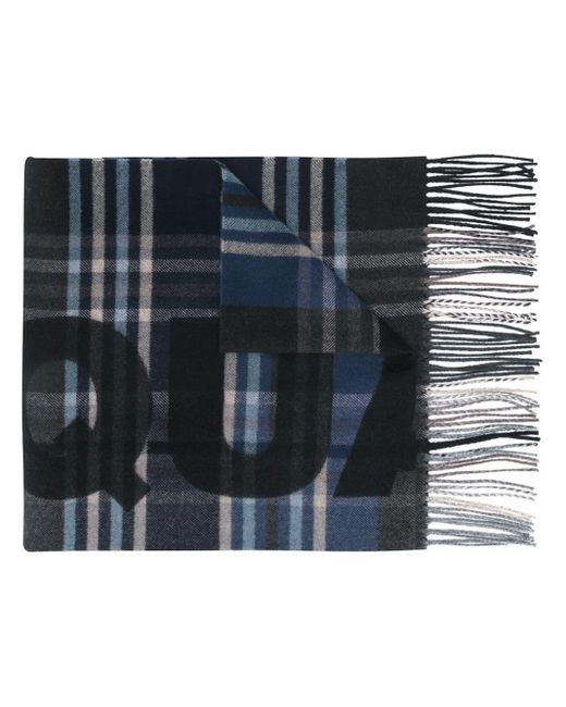 DSquared² Blue Checked Logo Scarf for men