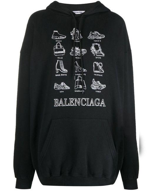 Balenciaga プリント パーカー Black