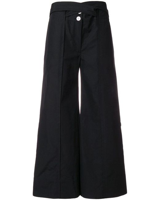 Eudon Choi - Black Tailored Cropped Palazzo Trousers - Lyst