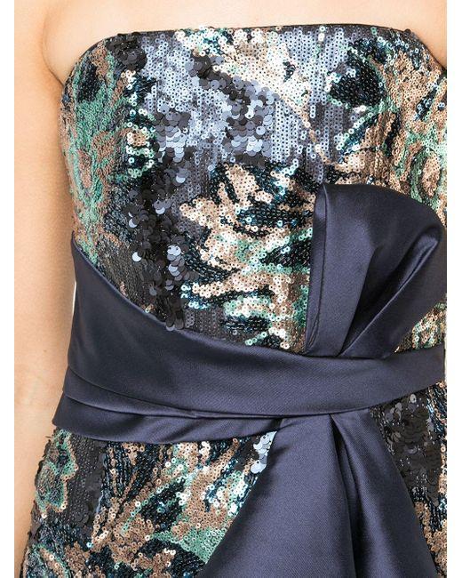 Marchesa notte スパンコール イヴニングドレス Blue