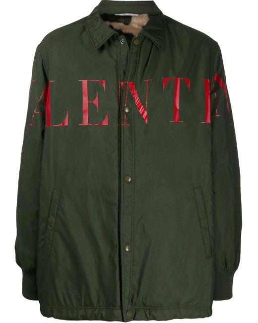 メンズ Valentino ロゴ シャツジャケット Green