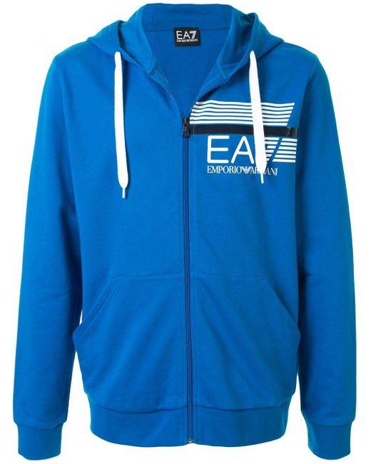 メンズ EA7 ロゴ ジップアップパーカー Blue