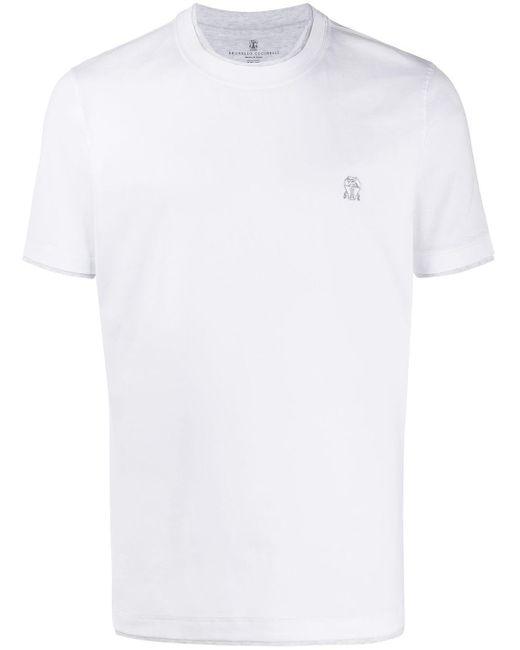 メンズ Brunello Cucinelli ダブルトリム Tシャツ White