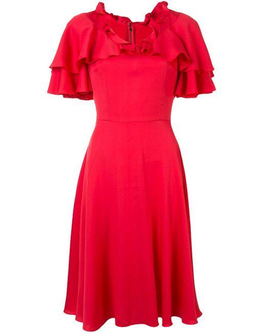 Dolce & Gabbana ケープスリーブ ラッフル ドレス Red