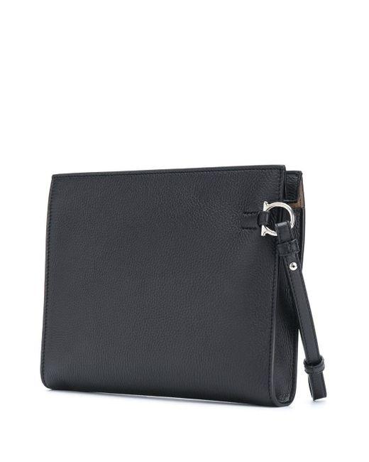 メンズ Ferragamo ロゴ クラッチバッグ Black