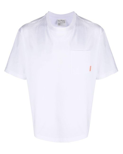 Acne White Boxy-fit T-shirt for men