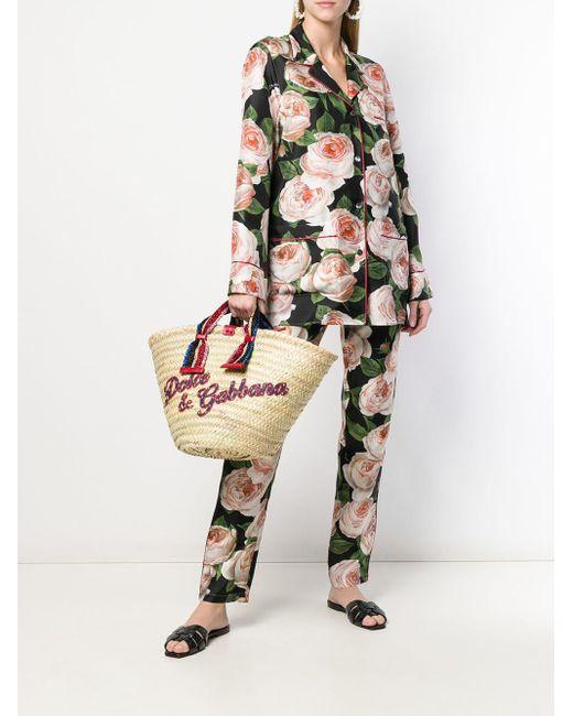 Blusa con estampado de rosas Dolce & Gabbana de color Black