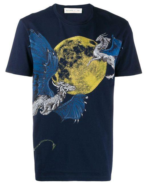メンズ Etro グラフィックプリント Tシャツ Blue