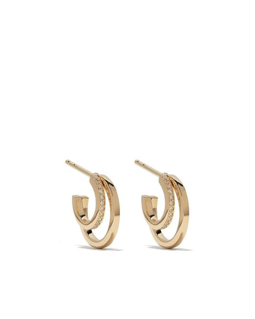 Georg Jensen Metallic 18kt Yellow Gold Halo Brilliant Cut Diamond Hoop Earrings