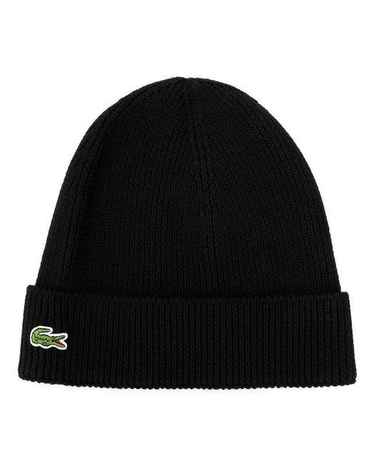 Lyst - Lacoste Logo Beanie in Black for Men a69e8dae3b78