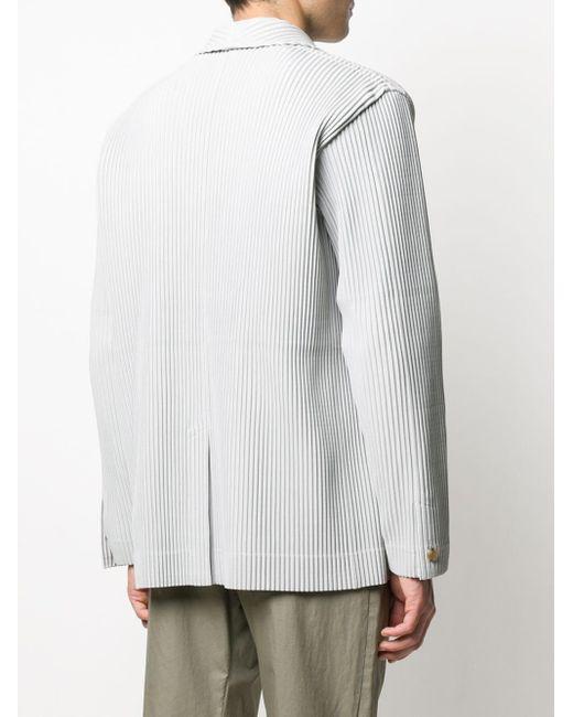 メンズ Homme Plissé Issey Miyake プリーツ シングルジャケット Gray