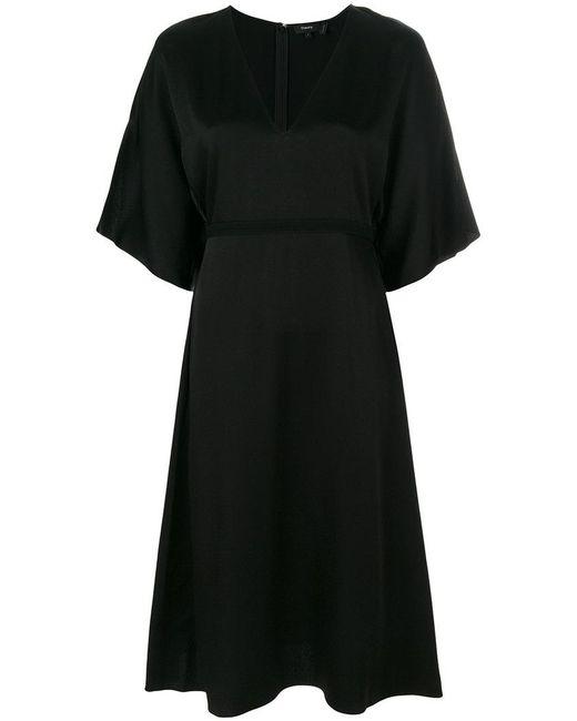 Theory - Black Kensington V-neck Dress - Lyst