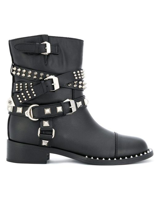 Philipp Plein Buckle Strap Studded Boots In Black