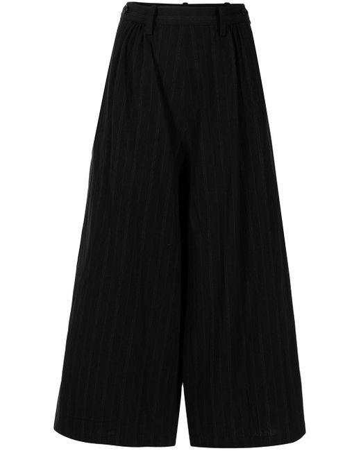 Pantaloni a gamba ampia crop di Y's Yohji Yamamoto in Black