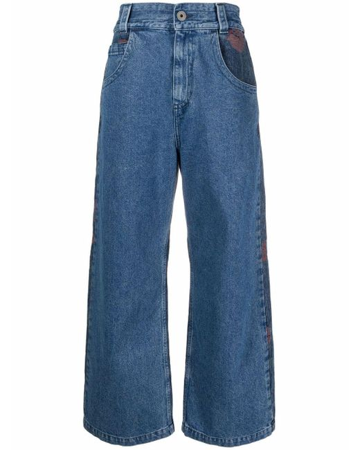 Opening Ceremony Blue Cropped-Jeans mit Rosenstickerei