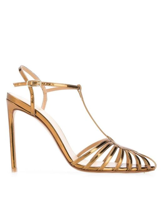 Francesco Russo Metallic Pointed Strappy Pumps