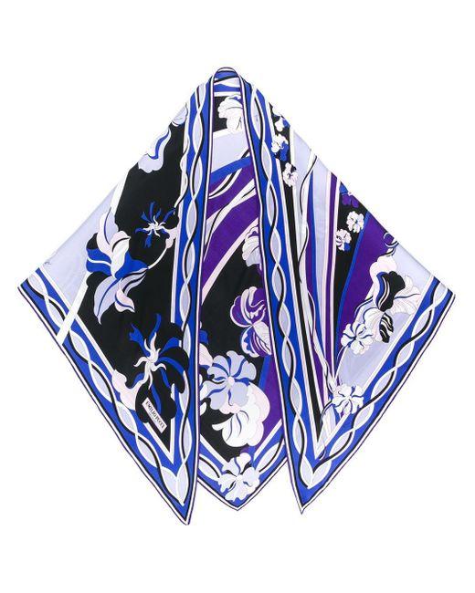 Emilio Pucci フローラル スカーフ Blue