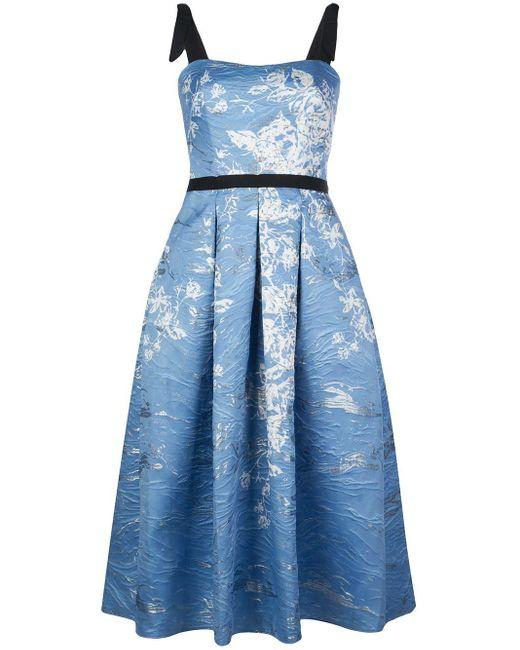 Платье С Цветочным Принтом И Складками Marchesa notte, цвет: Blue