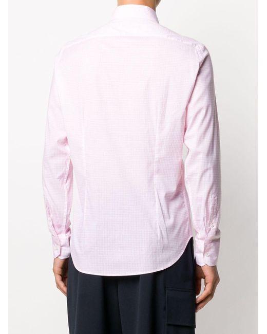 メンズ Fedeli グリッドプリント シャツ Pink