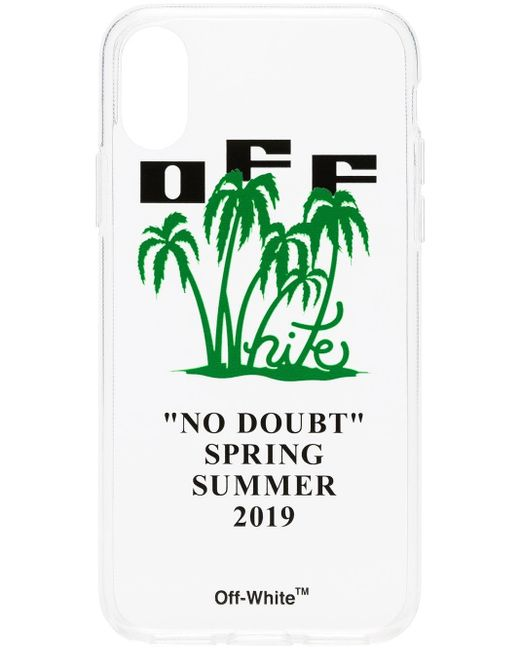 Off-White c/o Virgil Abloh Green Transparent Palm Print And Logo Iphone X Case