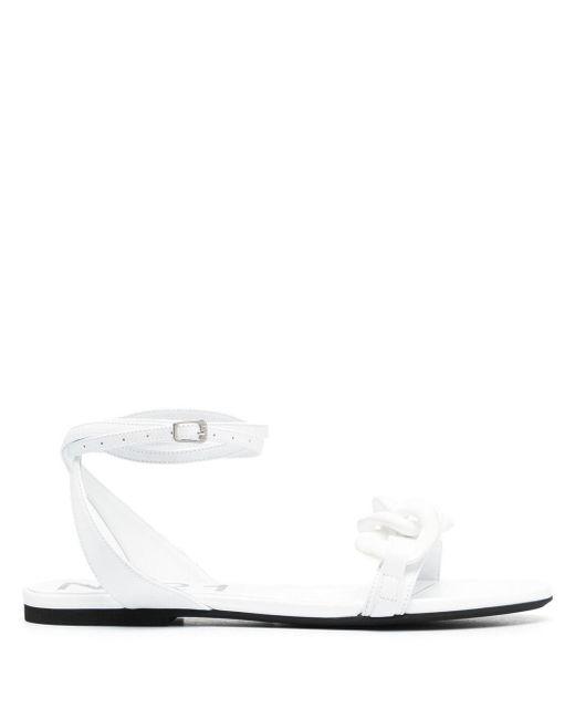 N°21 White Chain-detail Flat Sandals