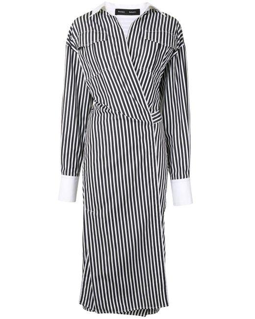 Платье-рубашка В Полоску С Запахом Proenza Schouler, цвет: Black