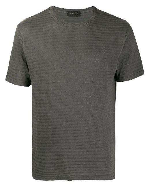メンズ Roberto Collina ストライプ Tシャツ Gray