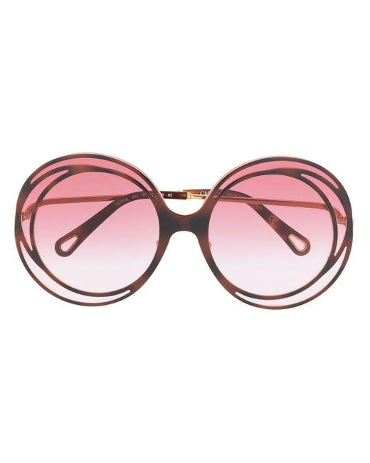 Солнцезащитные Очки Carlina В Массивной Круглой Оправе Chloé, цвет: Multicolor