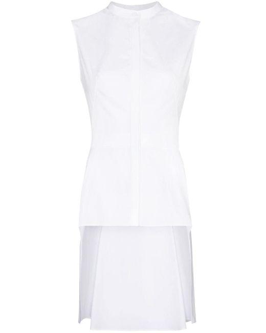 Alexander McQueen White Asymmetrische Bluse