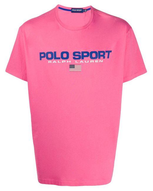 メンズ Polo Ralph Lauren ロゴ Tシャツ Pink