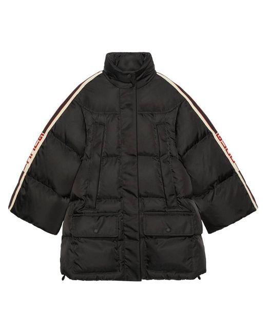 Gucci 【公式】 (グッチ) ストライプ パデッド ナイロン ケープジャケットブラック ナイロンブラック Black