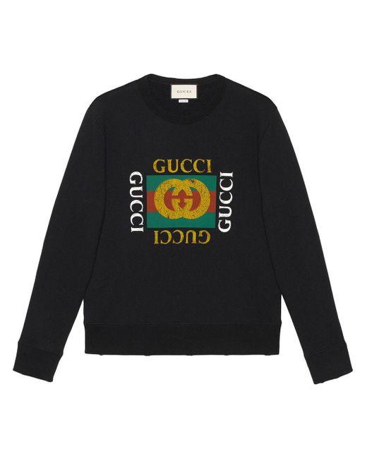 メンズ Gucci グッチ ロゴ コットン スウェットシャツ Black