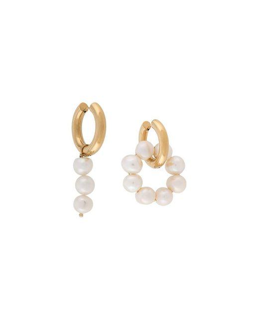 Timeless Pearly Pearl-embellished Hoop Earrings Metallic